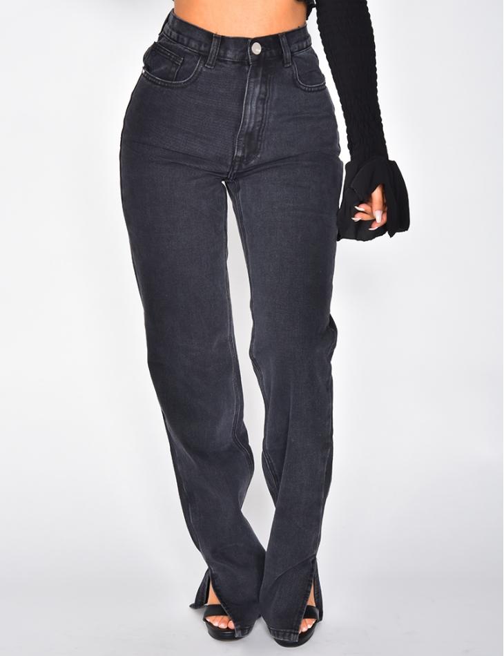 Jeans coupe droite taille haute à fentes