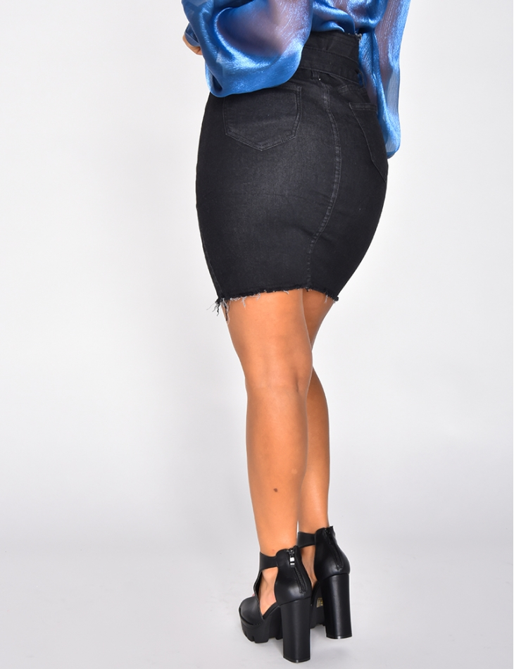 High Waisted Denim Skirt with Belt