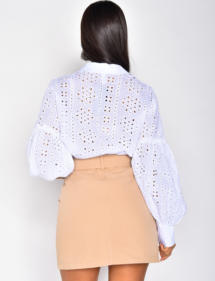 Chemise manches longues à broderies