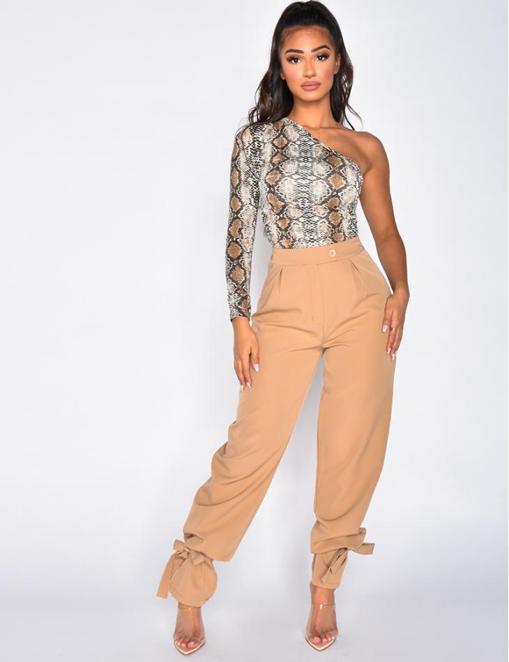 Pantalon taille haute à attaches aux chevilles