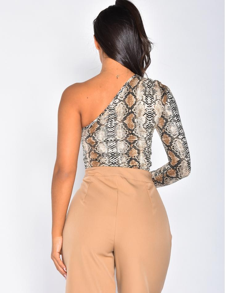 Asymmetric Snakeskin Bodysuit