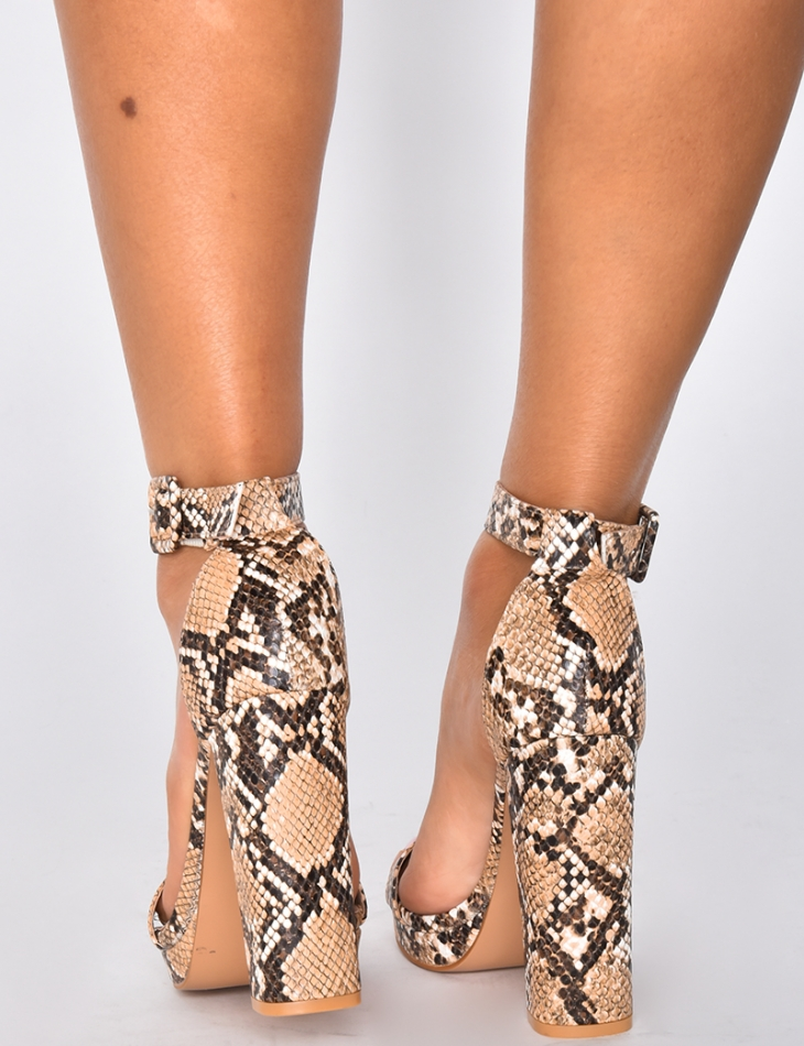 Sandals with Snakeskin Pattern