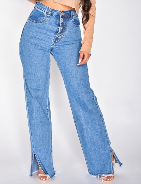High Waisted Bell Bottom Jeans with Buttons and Slits at the Ankles