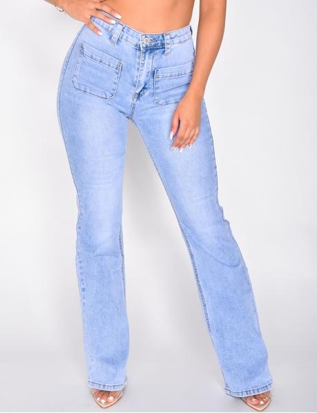 Schlaghosen-Jeans mit hoher Taille