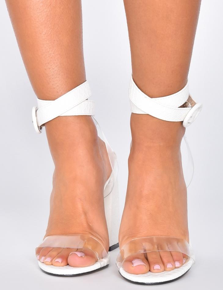 Sandales effet peau de serpent