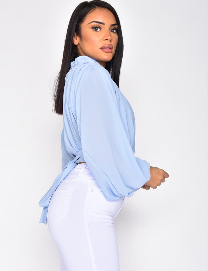 Loose Fit High Neck Blouse with Tie Up Back