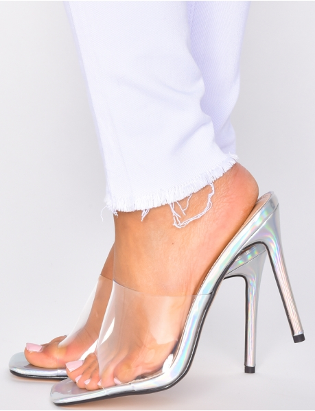 Transparent Mules with Holographic Heels
