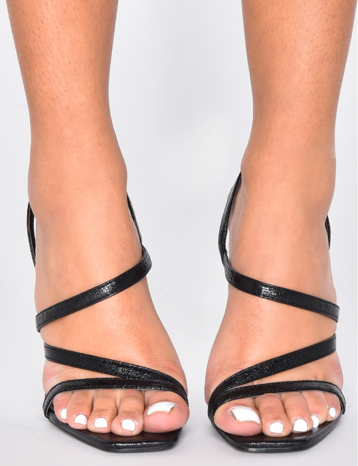 Faux Leather Strappy Sandals - Jeans
