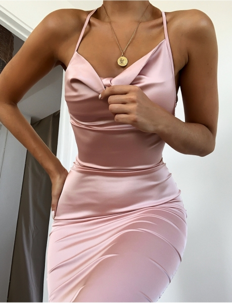 Long Satin Lace Up Dress