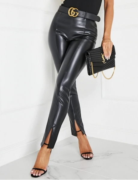 Faux Leather Trousers with Slits