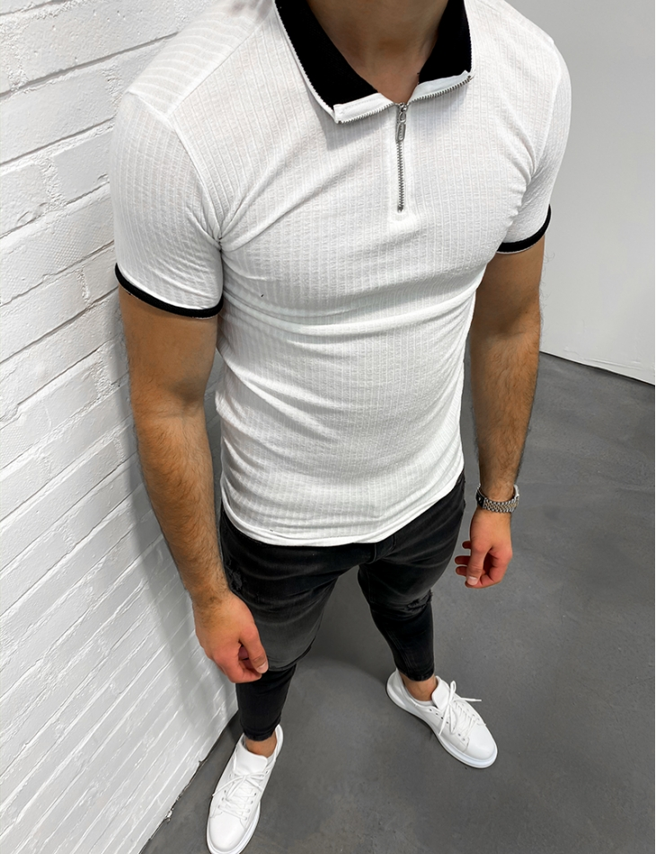 Ribbed Polo Neck with Zip