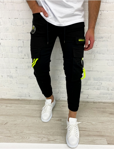 Jogging Bottoms with Fluorescent Yellow Bands