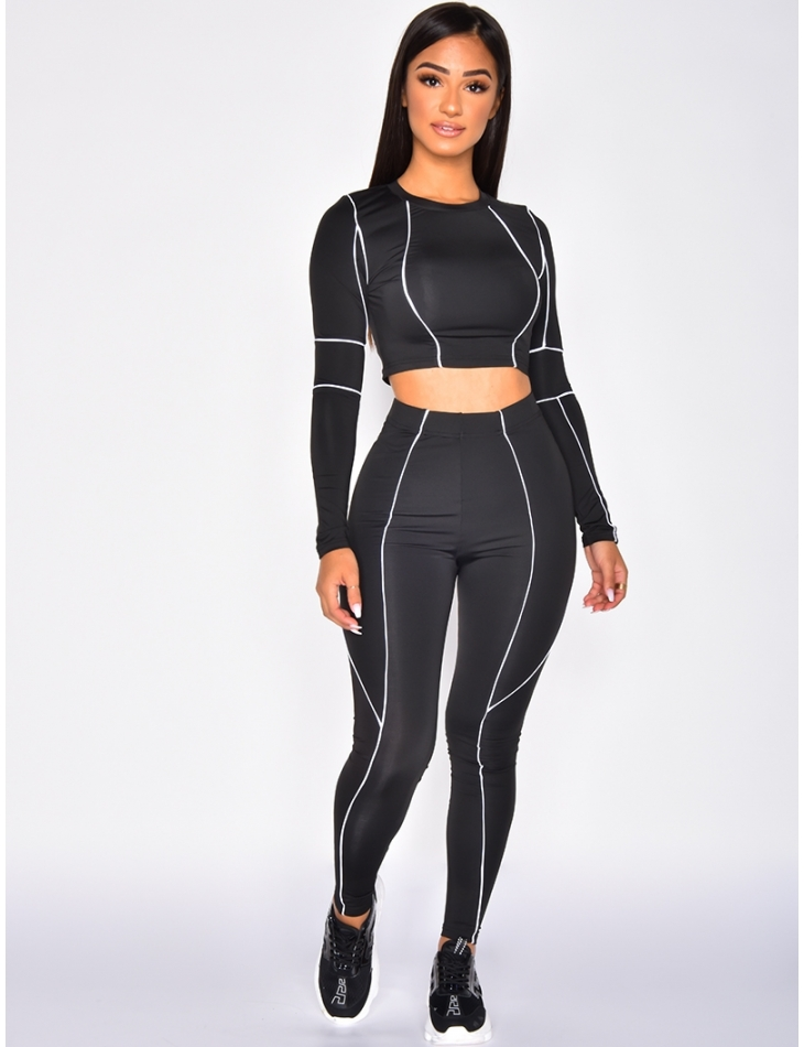 Crop Top and Trousers Co-ord with White Bands