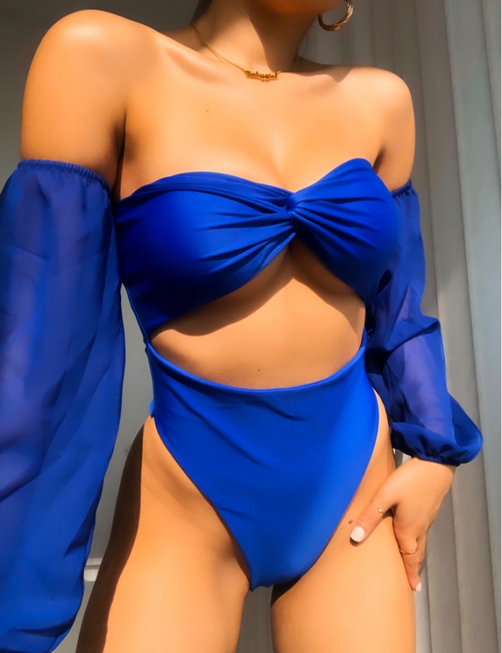 Swimsuit with Tie at the Chest & Frill Sleeves