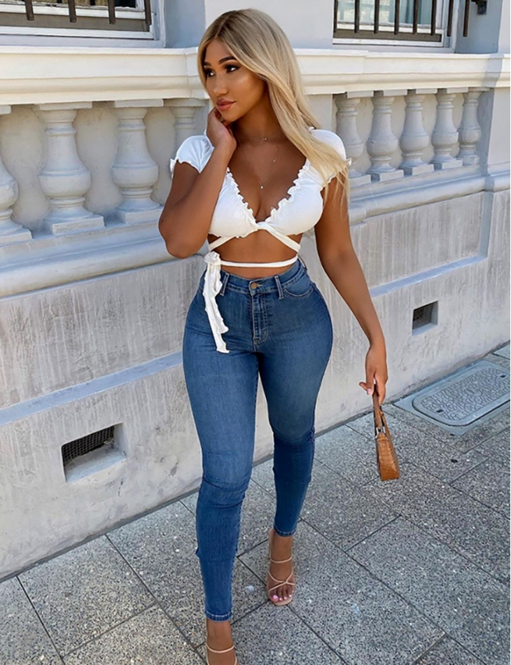 Jeans basic taille haute