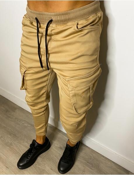 Pantalon à poches tâcheté de peinture