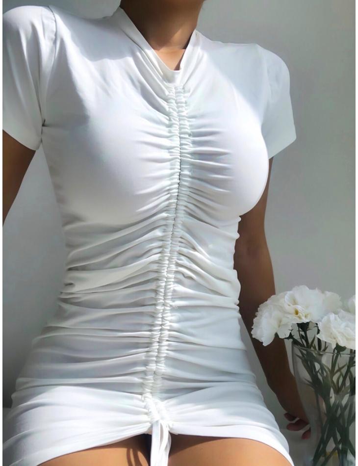 Robe t-shirt froncé