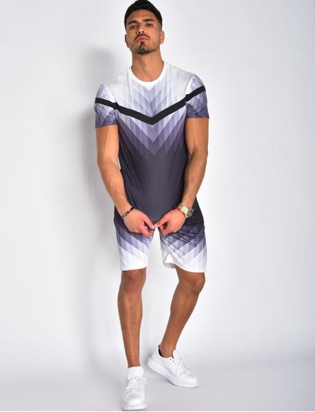 Ensemble T-Shirt und Shorts mit geometrischen Motiven