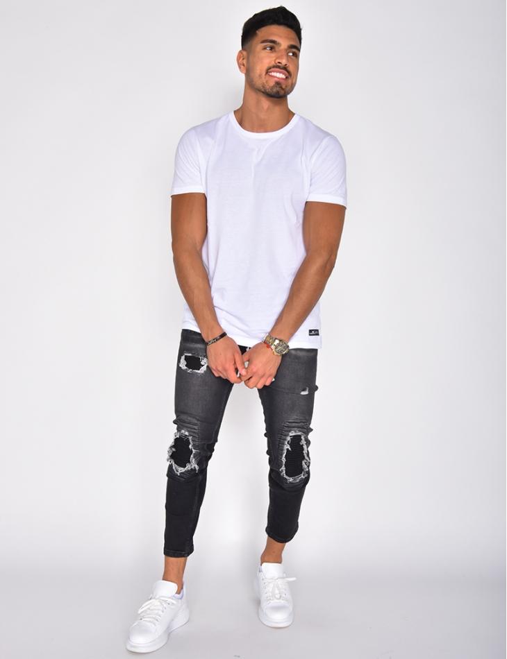 Jeans à empiècements texturés destroy