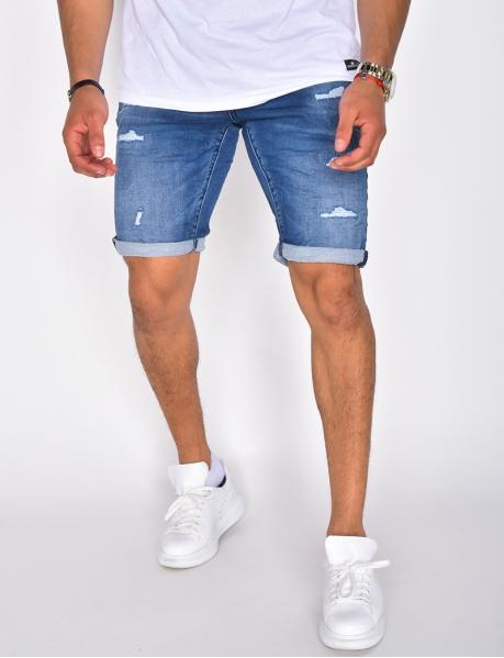 Short en jeans destroy à nouer