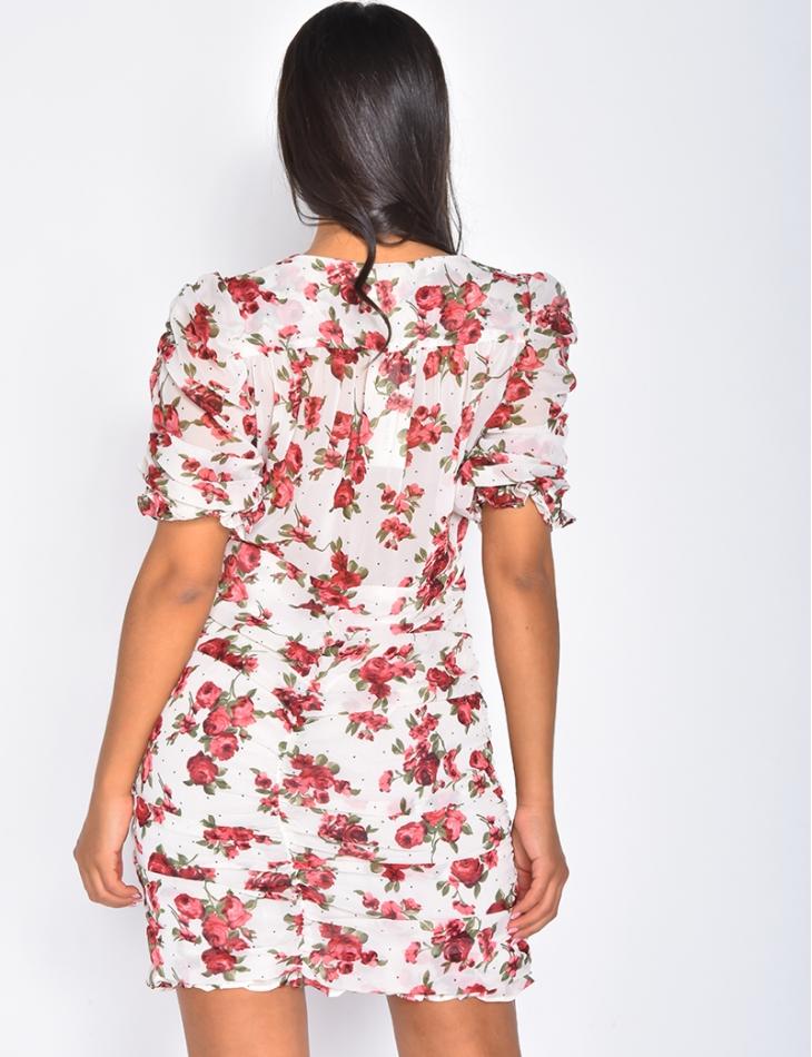 Robe froncée à motifs roses