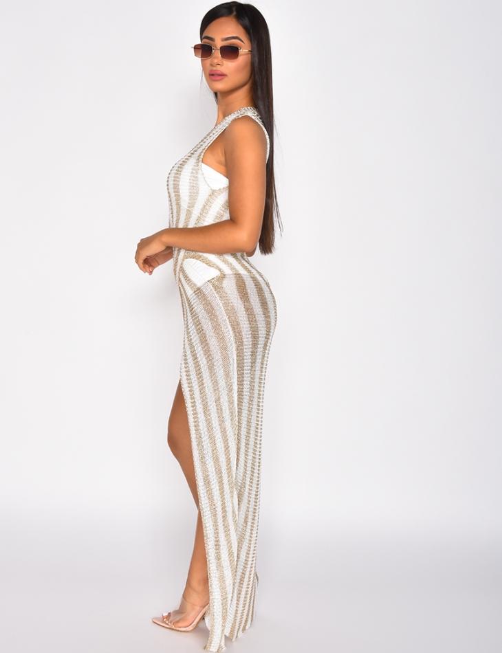 Striped Iridescent Knit Dress