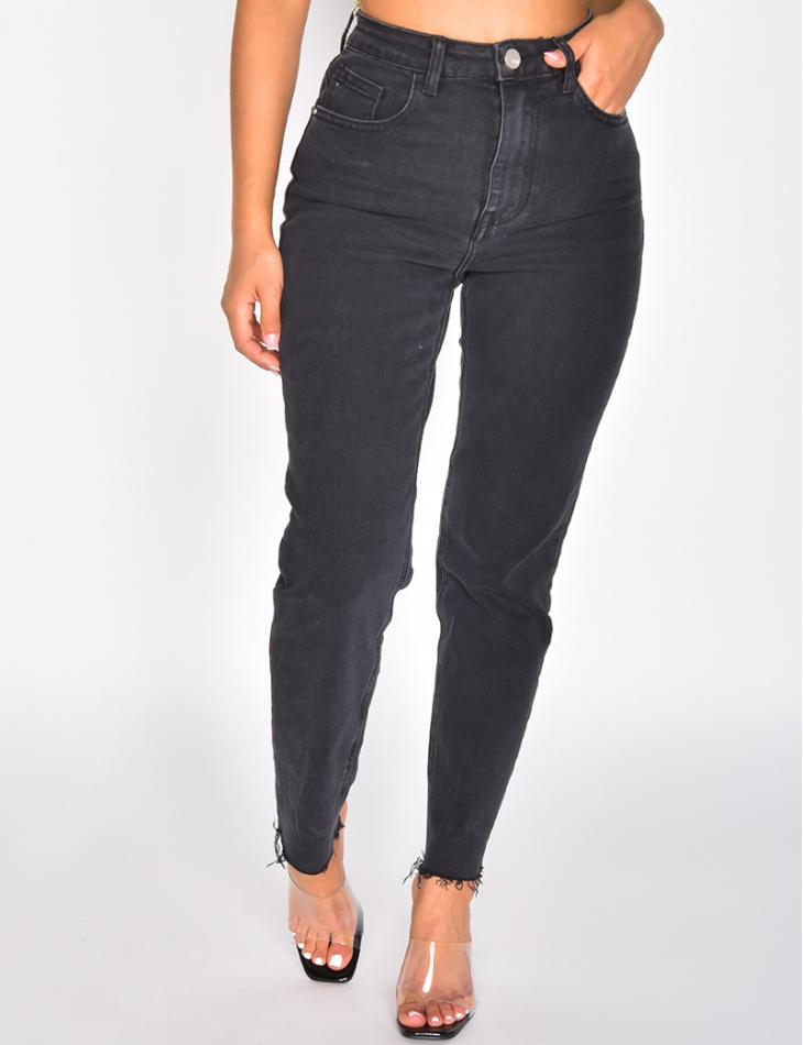 Jeans taille haute cropped
