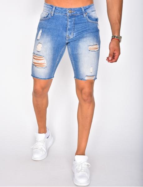 Shorts aus Jeansstoff in Destroyed-Optik