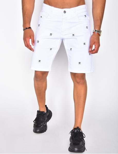 Short en jeans à motifs