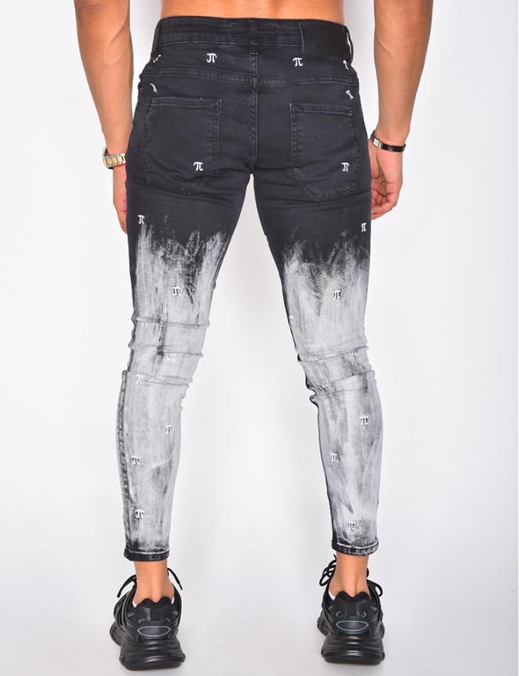 Jeans noir à motifs