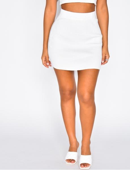 Mini-jupe basic côtelée
