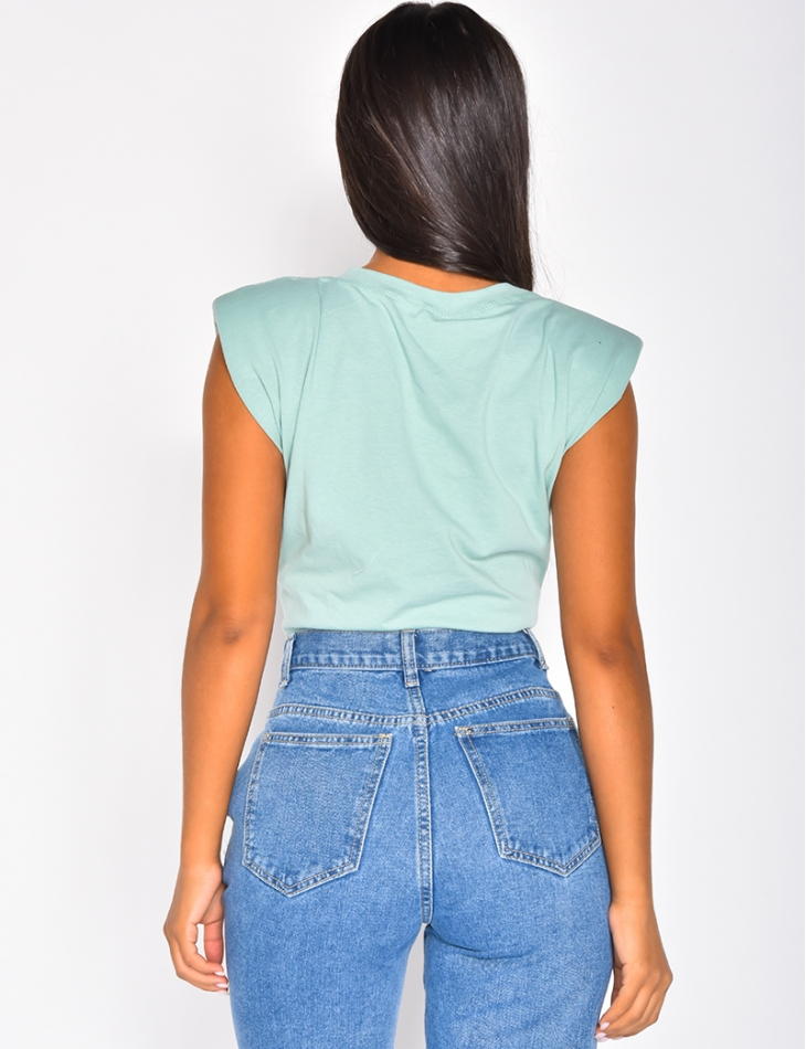 Sleeveless T-shirt with Shoulder Pads