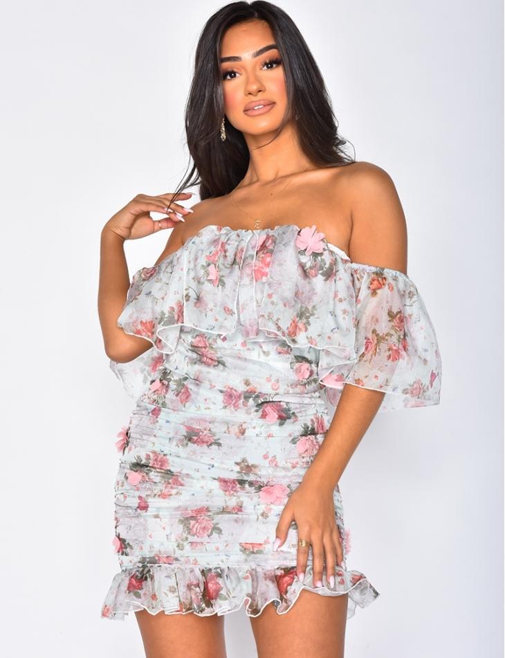 Robe drapée à motifs fleurie