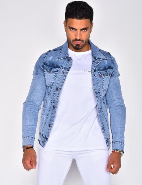 Veste en jeans bleu clair