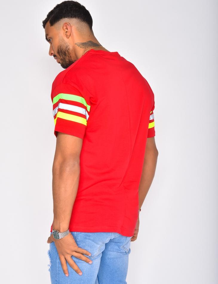 "T-shirt oversize ""SAW"" à bandes"