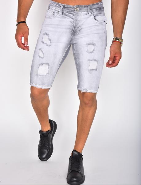 Bermudashorts aus Jeansstoff in Destroyed-Optik