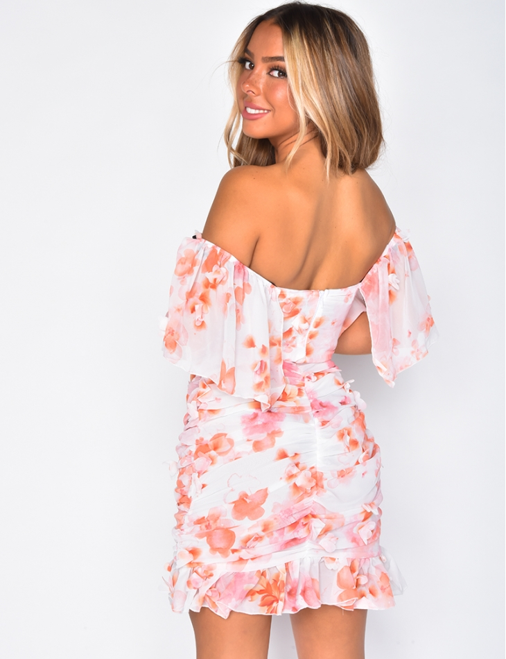 Robe en voile à fleurs col bardot