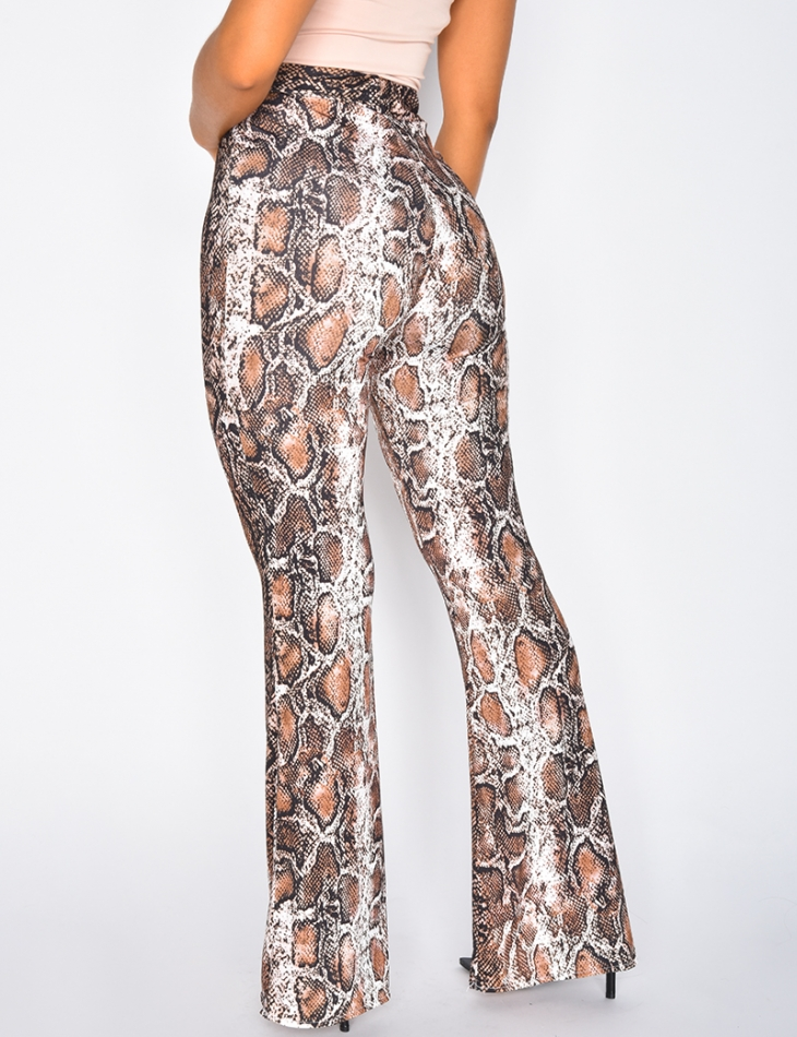 Pantalon patte d'eph à motifs serpent