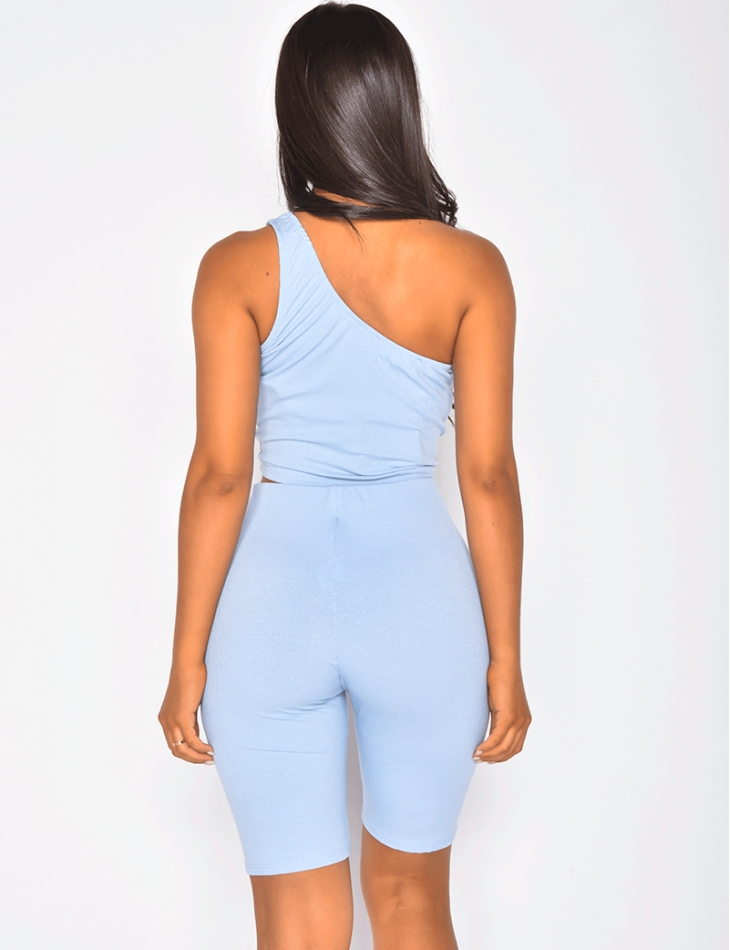 Asymmetric Ribbed Crop Top and Shorts Co-ord