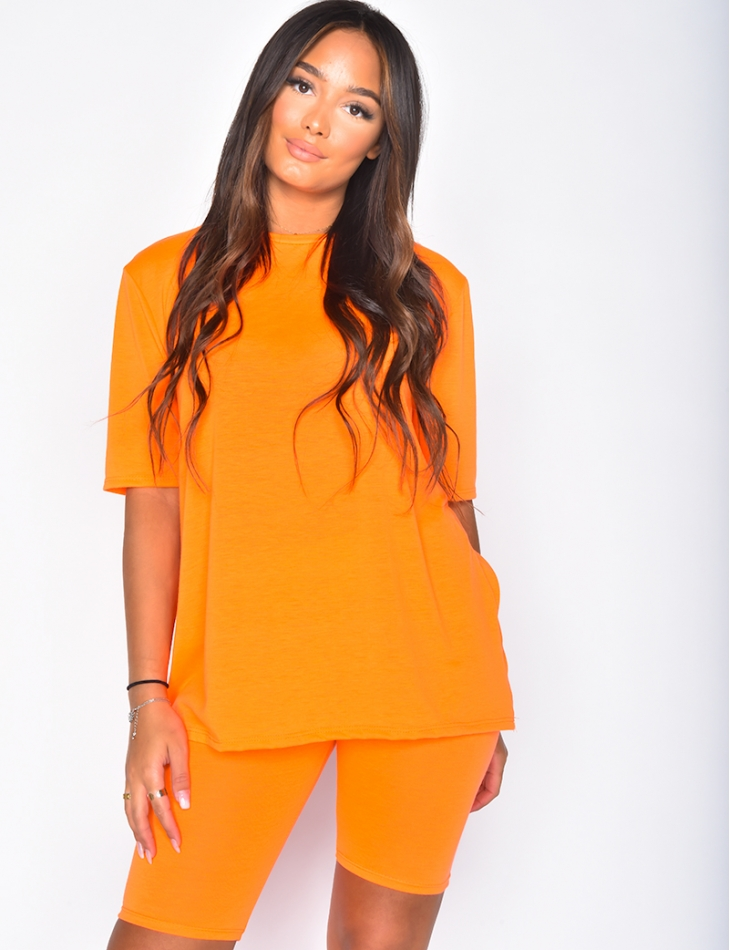 Oversized T-shirt and Cycling Shorts Co-ord