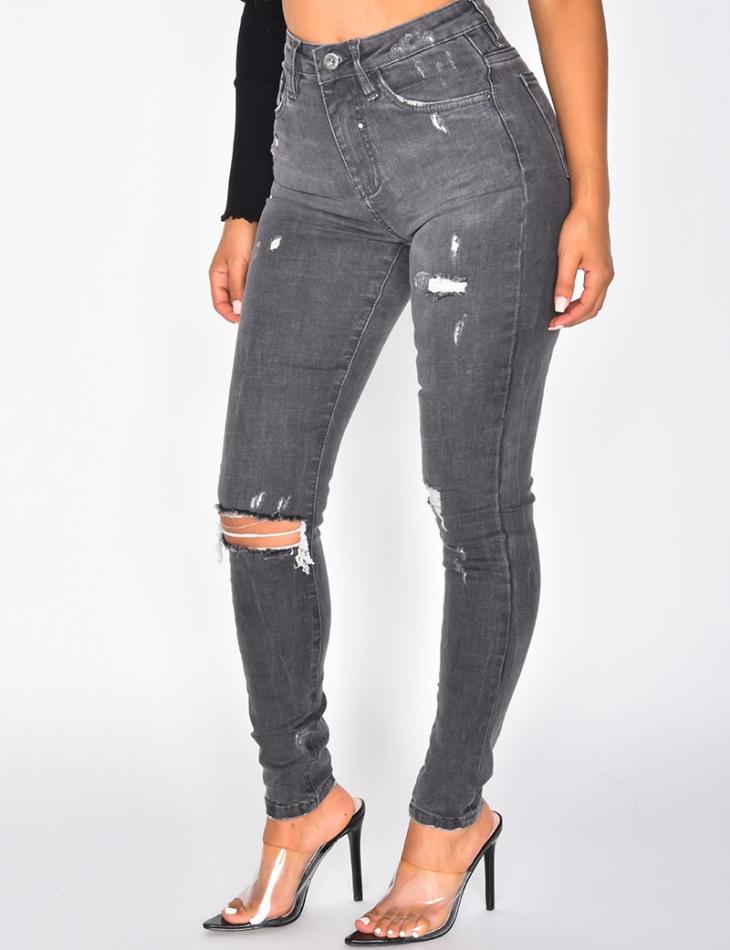 Jeans skinny destroy taille haute