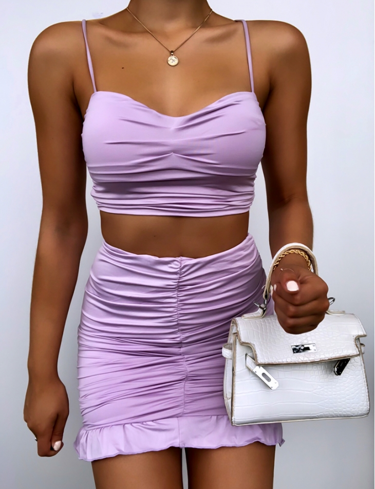 Ensemble crop-top et jupe drapé