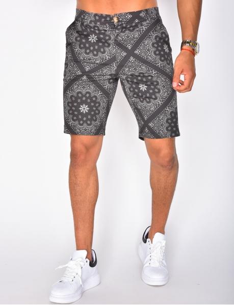 Chino-Shorts mit Bandana-Muster