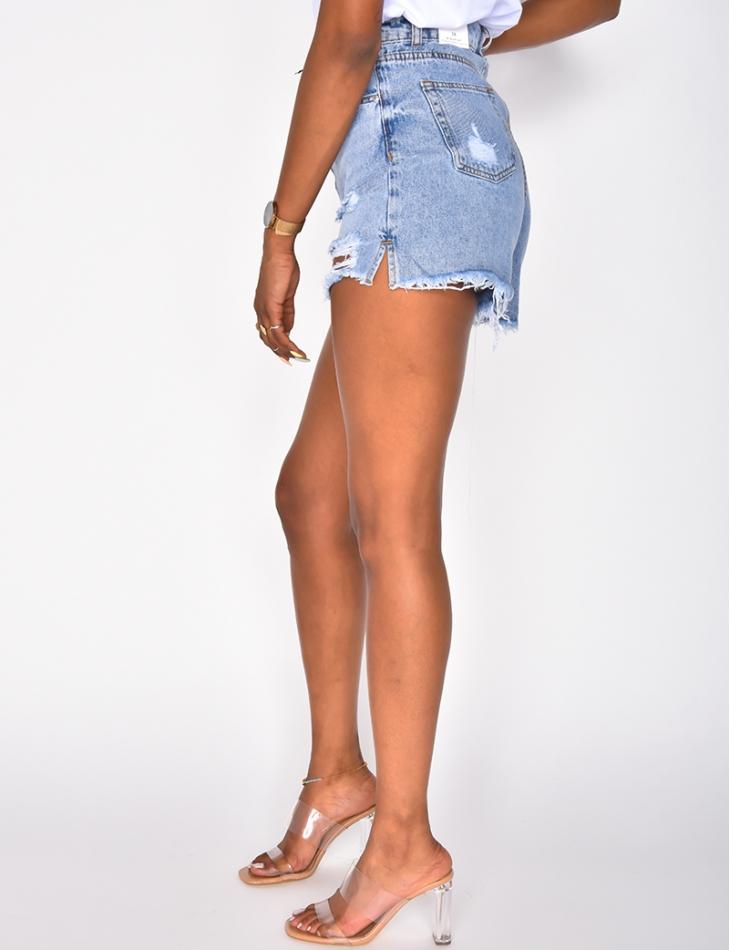 Short en jeans taille haute destroy