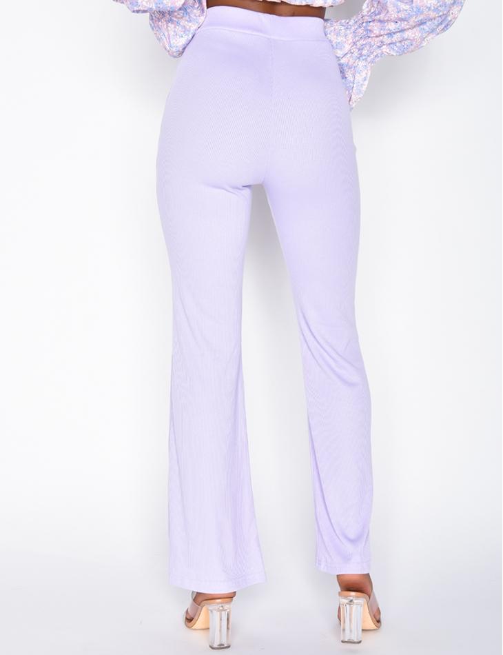 Pantalon patte d'éléphant côtelé