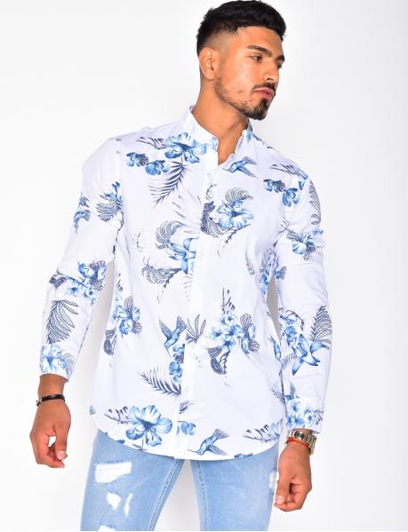 Chemise manches longues à fleurs