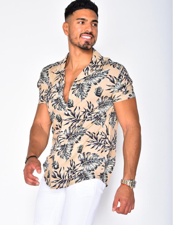 Chemise homme à motifs feuilles