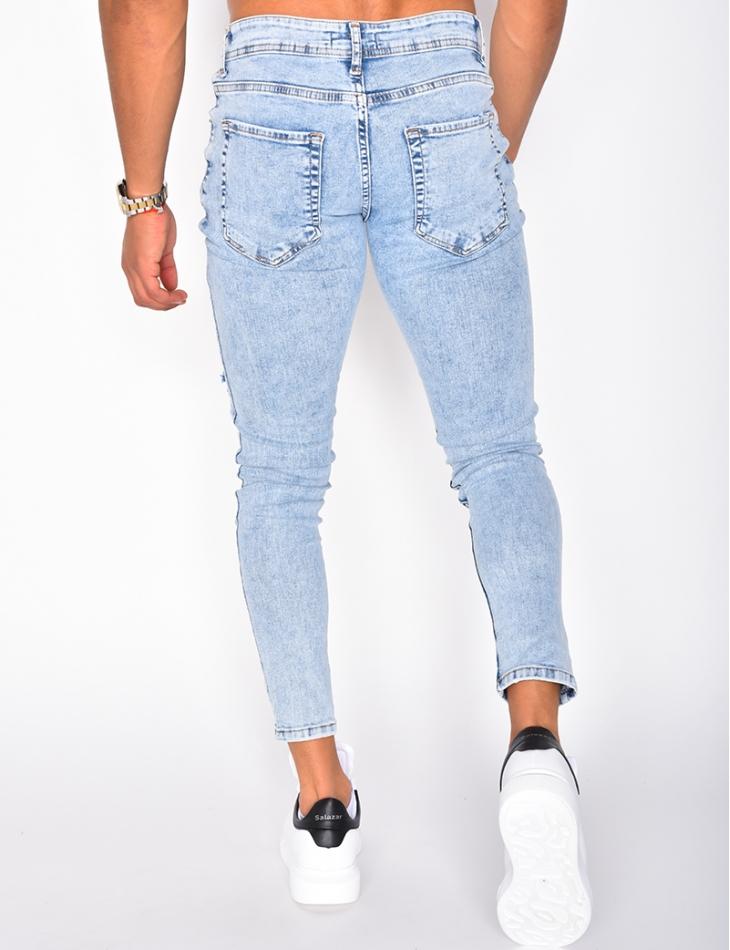 Jeans slim destroy délavé