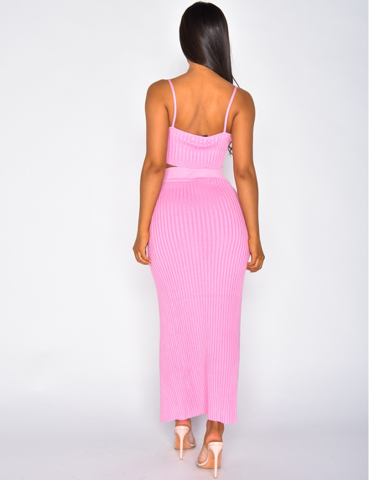 Ribbed Bralette and Long Skirt Co-ord