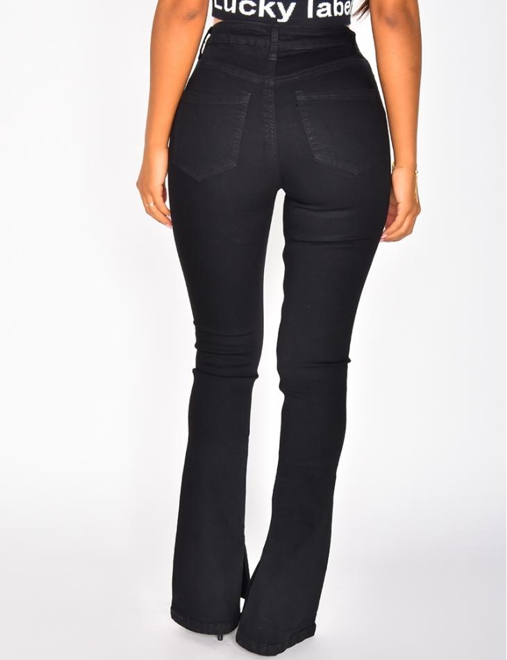 Jeans taille haute patte d'eph à fentes